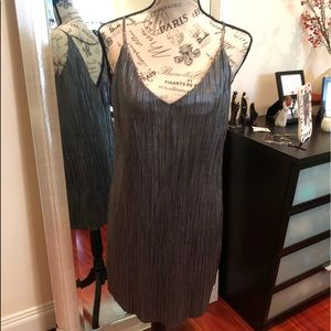 NWT Gorgeous pleaded platinum/silver lined dress.